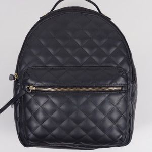 Black Leather Quilted Backpack